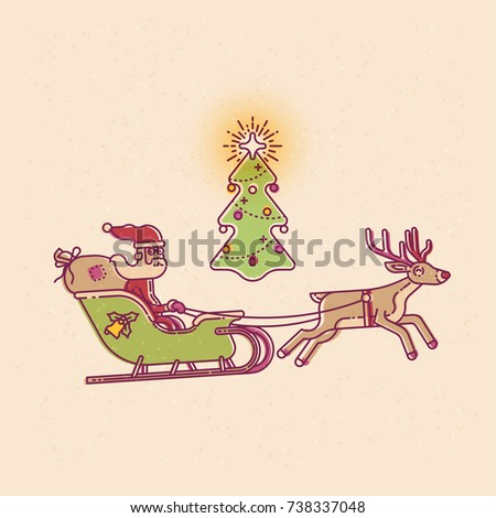 19a96dc6070af Vintage looking mono weight linear illustration on Christmas with Santa  claus on sleigh pulled by deer