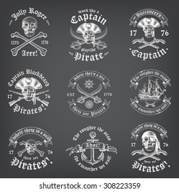Vintage Looking Skull Pirate Logos and Insignia on a chalkboard background