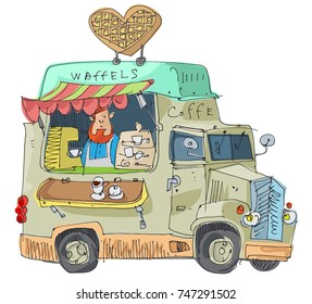 Vintage lorry modified as street fast food cafe. Waffles cafe. Cartoon.