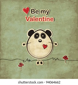 Vintage love card with panda bear, Valentine's day illustration