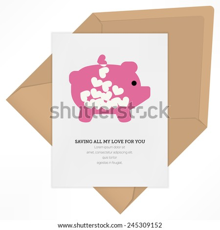 vintage love letter background vector design template for valentines day card saving all my