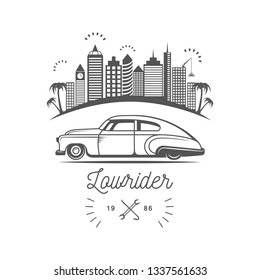 Vintage lowrider logo for your company or club. Emblem in retro style.