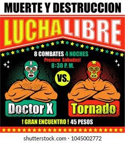 Vintage Lucha Libre Ticket. Vector illustration.