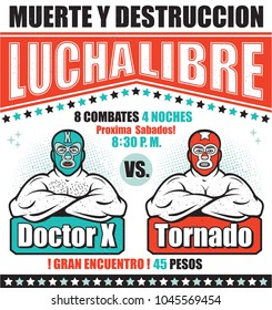 Vintage Lucha Libre Ticket. Vector illustration.