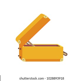 Vintage luggage case side view, travelling concept bag in flat style. Open suitcase vector illustration poster isolated on white background.