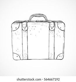 Vintage luggage suitcase sketch illustration. Retro old style travel suticase hand drawn illustration