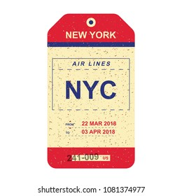Vintage Luggage tag with old grunge texture. Label for airport. Flat vector illustration EPS 10.