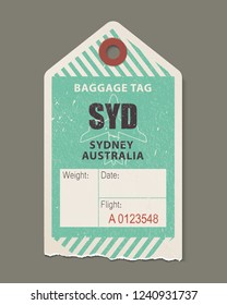 Vintage luggage tag, retro travel label, airline baggage tags. Check, baggage ticket for passengers at airport. Bus, train, airline flight trip. Sydney australia country label. Vector illustration.