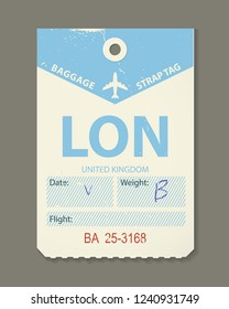 Vintage luggage tag, retro travel label, airline baggage tags. Check, baggage ticket for passengers at the airport. Bus, train, and airline flight trip. London, country label. Vector illustration.