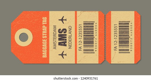 Vintage luggage tag, retro travel label, airline baggage tags. Check, baggage ticket for passengers at airport. Bus, train, airline flight trip. Amsterdam nederland country label. Vector illustration.