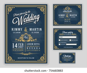 Vintage luxurious wedding invitation on chalkboard background. Include Invitation, RSVP card, Save the date, Thank you card. Vector illustration