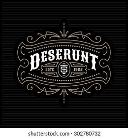 vintage luxury antique monochrome art deco gold hipster minimal geometric linear vector frame , border , label  for your logo, badge or crest for club, bar, cafe, restaurant, hotel, boutique