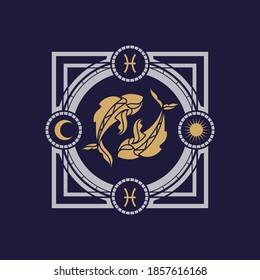vintage luxury astrology pisces zodiac vector illustration