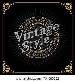 Vintage Luxury Banner Template Design for Label, Frame, Product Tags. Retro Emblem Design. Vector illustration