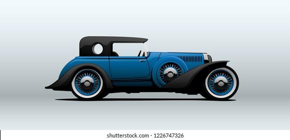 Vintage luxury car. Vector illustration.