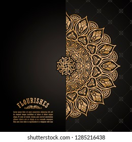 Vintage luxury decorative design of golden mandala. Vector floral background for greeting card, wedding invitation, design element in gold color. Place for text. Outline traditional ornament.