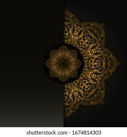 Vintage luxury decorative design of golden mandala. Vector illustration. Floral ornament
