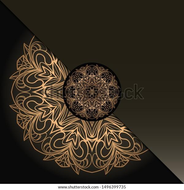 Vintage Luxury Decorative Design Golden Mandala Stock Vector
