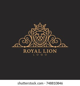 Vintage luxury elegant ornament label template with a lion head in trendy linear style. Vector illustration.