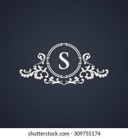 Vintage luxury emblem. Elegant Calligraphic pattern on vector logo. Black and white monogram S