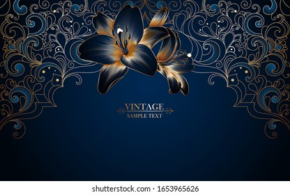 Vintage luxury frame in oriental stylewith lily flower. Element for the design of cards, invitations, celebrations, ceremonies, flyers.