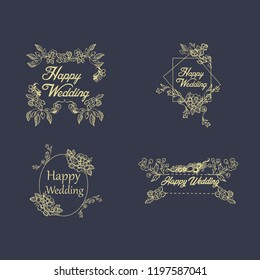 Vintage luxury gold floral dark background for wedding invitation, greeting card, banner