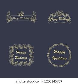 Vintage luxury gold floral dark background for wedding invitation, greeting card, banner