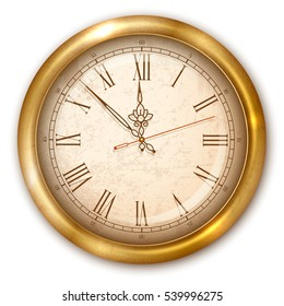 Vintage luxury golden wall clock with roman numbers isolated on white background. Vector illustration.