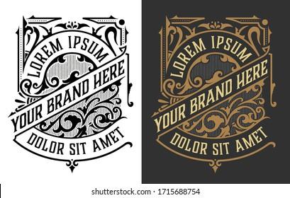 Vintage Luxury Logo / Label Template Design for Label, Frame, Product Tags. Retro Emblem Design. Vector illustration
