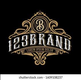 Vintage Luxury Logo Template Design for Label, Frame, Product Tags. Retro Emblem Design. Vector illustration