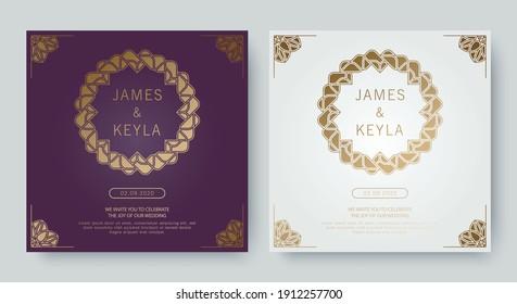 Vintage luxury purple and white wedding invitation