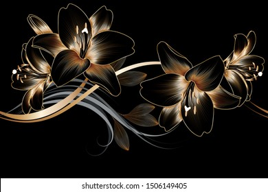 Vintage luxury seamless floral background with golden lilies flowers. Romantic pattern template for wall decor, wallpaper, wedding invitations, ceremonies, cards.