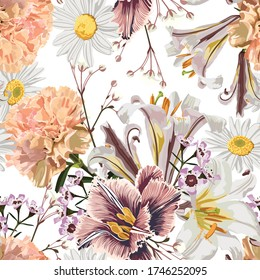 Vintage luxury seamless pattern with detailed hand drawn flowers - blooming lilies, daisy, beige carnation and herbs.