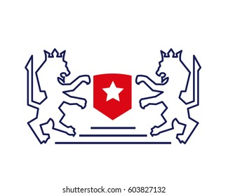Vintage Luxury Twin Crown Lion And Red Star Shield Logo