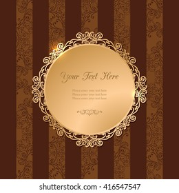 Vintage luxury vector background. Golden decorated filigree frame on brown background of stripes and floral pattern. Template for your design. EPS 10