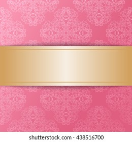 Vintage luxury vector background. Golden cutout ribbon with shadow on pink damask pattern. Template for your design. Vector illustration EPS 10
