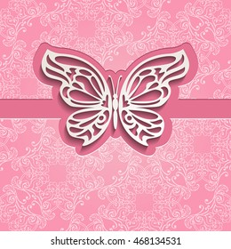 Vintage luxury vector background. Paper cut lacy butterfly on seamless ornate pink pattern. Element for your design in oriental style.