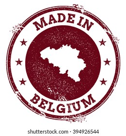 Vintage Made in Belgium stamp. Grunge rubber stamp with Made in Belgium text and country map, vector illustration.