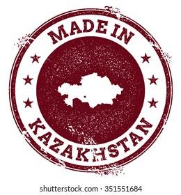Vintage Made in Kazakhstan stamp. Grunge rubber stamp with Made in Kazakhstan text and country map, vector illustration