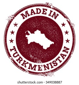 Vintage Made in Turkmenistan stamp. Grunge rubber stamp with Made in Turkmenistan text and country map, vector illustration