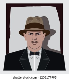 Vintage mafia avatar vector, mafia portrait with hat from the 1930s, man portrait vector with hat, male portrait from the 1930s