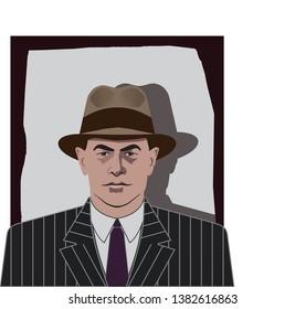 Vintage mafia avatar vector. Mafia portrait with hat from the 1930s. Man portrait vector with hat. Male portrait from the 1930s.