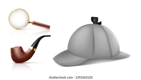 Vintage magnifying glass, retro smoking tobacco pipe and deerstalker cap 3d realistic vector icons set isolated on white background. Private detective accessories, Sherlock Holmes classic attributes