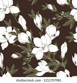 Vintage Magnolia flowers and buds. Seamless pattern. Vector Illustration