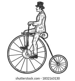 Vintage man on a high bike, penny farthing. Sketch scratch board imitation coloring.