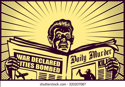 Vintage man reading tabloid newspaper with anxious and scared face expression, crime news, panic, cold sweat, shocking stories, scaremongering