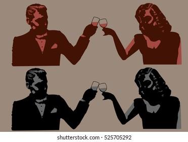 Vintage man and woman toasting/ Editable Eps 10.