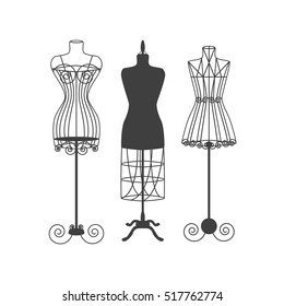 Vintage Mannequin or Dummies Black Silhouette For Sewing Women Fashion Clothes Flat Design Style. Vector illustration of fashion dressmakers object for female body in ancient style