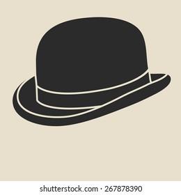 Vintage man's bowler hat label. Design template for label, banner, badge, logo. Bowler hat vector illustration.