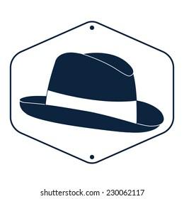 Vintage man's fedora hat label isolated on white background. Design template for label, banner, badge, logo. Vector.